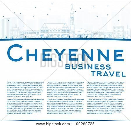 Outline Cheyenne (Wyoming) Skyline with Blue Buildings. Business travel concept. Vector Illustration