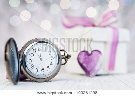 New Year Clock On Abstract Background