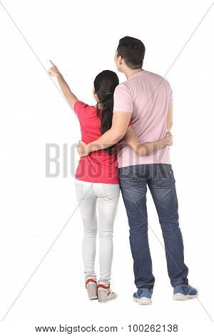 Young Asian Couple Pointing Something
