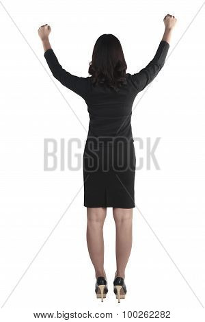 Business Woman Raise Her Hand And Smile