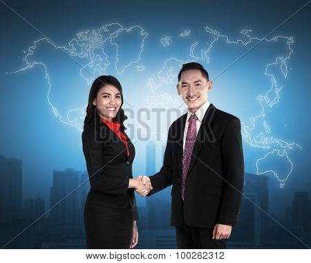 Business Man And Woman Shaking Hand