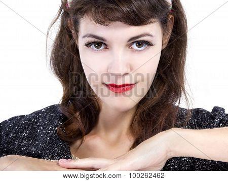 Retro Style Girl on a White Background