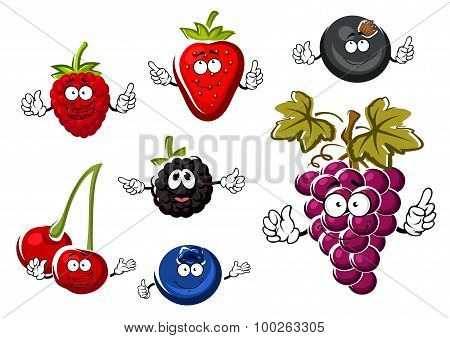Assorted isolated fresh cartoon berries