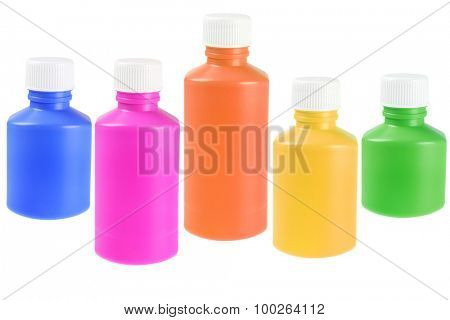 Collection of Colourful Liquid Medicine Plastic Bottles on White Background