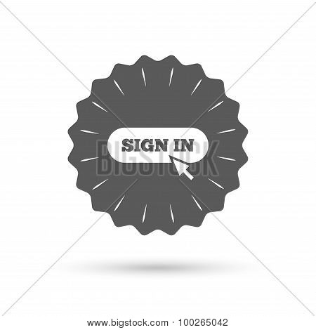 Sign in with cursor pointer icon. Login symbol