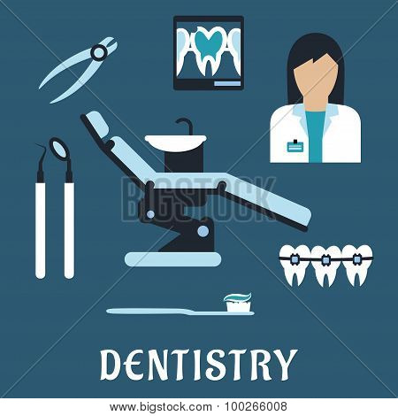 Dentist profession flat icons and symbols