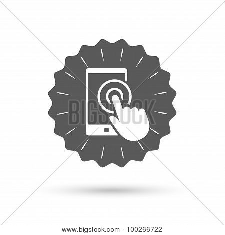 Touch screen smartphone sign icon. Hand pointer