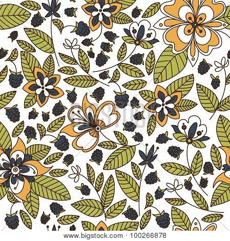 Floral seamless pattern with blackberries