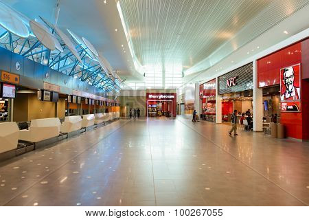 KUALA LUMPUR, MALAYSIA - MAY 06, 2014: airport interior. Kuala Lumpur International Airport (KLIA) is Malaysia's main international airport and one of the major airports of South East Asia