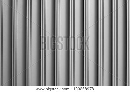 Texture Detail Background Of The Door Corrugated Paneling, Black And White.