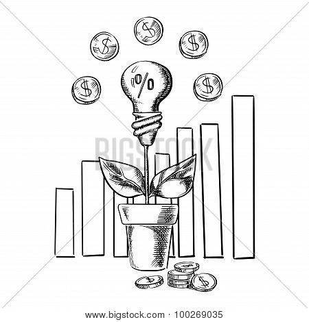 Growth chart and idea light bulb with flower