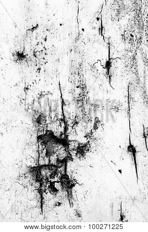 Texture Background Of The Wood Wall, Black And White. The Peeling Paint.