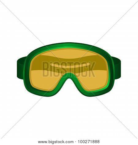 Ski sport goggles in dark green design