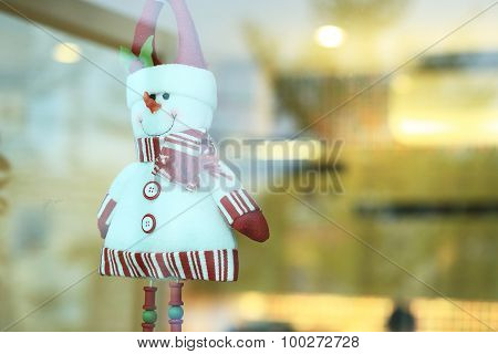 Snowman Doll Made From Yarn Decorated Home In Christmas Day