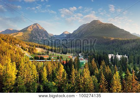Strbske Pleso With Forest And Mountain, Aerial View, Slovakia