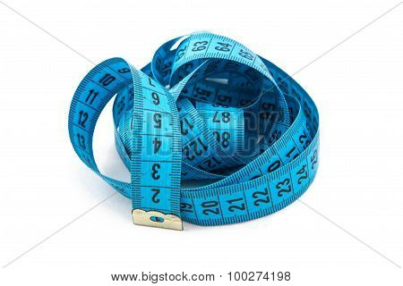 Image blue folded measuring tape, cm
