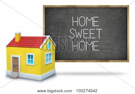 Home sweet home on Blackboard with 3d house