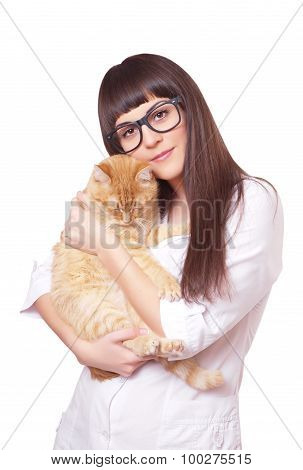 Portrait Of A Beautiful Woman Holding Red Cat