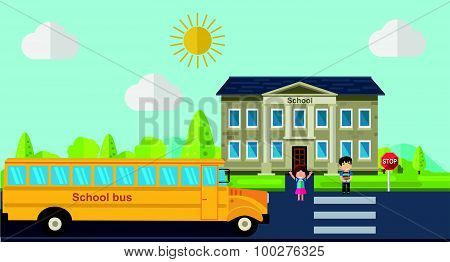 Kids go back to school. Bus, children and school facade composition. Vector illustration