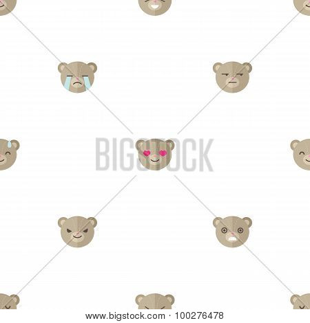 Vector flat cartoon bear heads with different emotions seamless pattern. Animal emoticons background