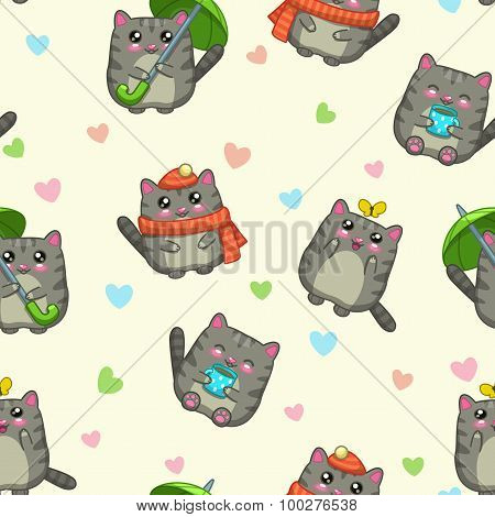 Seamless pattern with cute cartoon grey cats