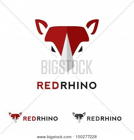 Vector minimalistic flat animal head logotype. Red rhino logo.