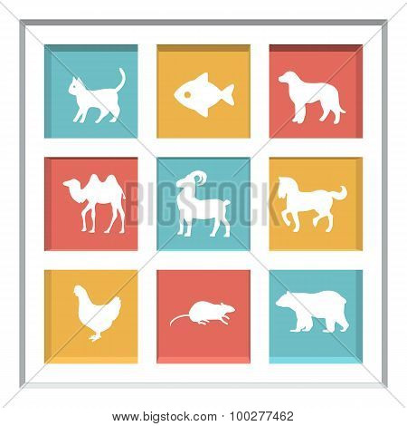 Abstract creative concept vector set of animals icons for web and mobile app isolated on background,