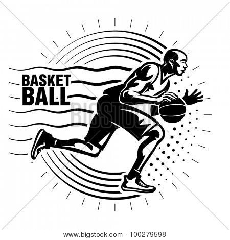 Basketball player. Illustration in the engraving style
