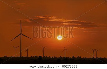 Silhouette Wind Turbine With Sunset