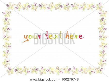 Decorative Border Frame With Color Flower