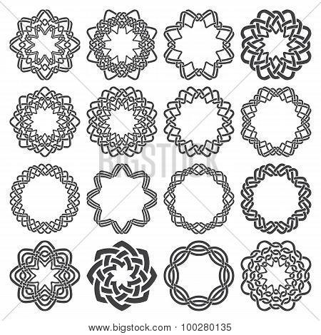 Sixteen octagon decorative elements with stripes braiding