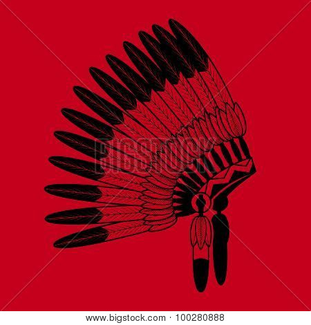 Indian feathers war bonnet