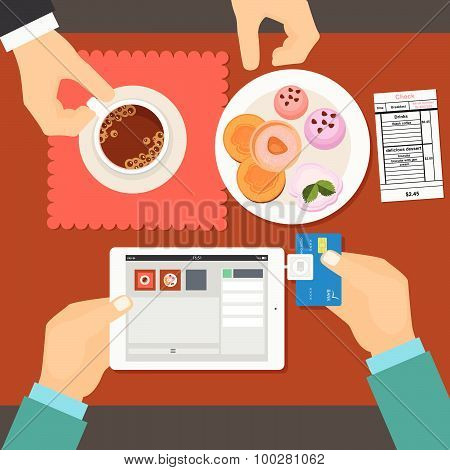 Mobile payment in restaurant using tablet. Vector illustration flat style