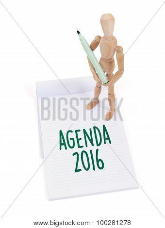 Wooden Mannequin Writing - Agenda 2016