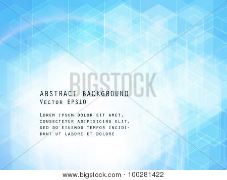 Abstract light blue background. Hexagonal pattern structure. Vector image.