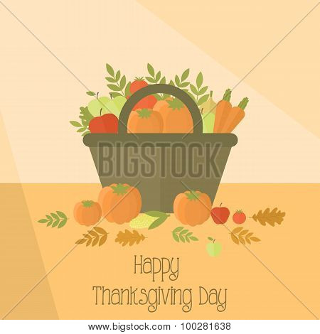 Thanksgiving day basket with pumpkins