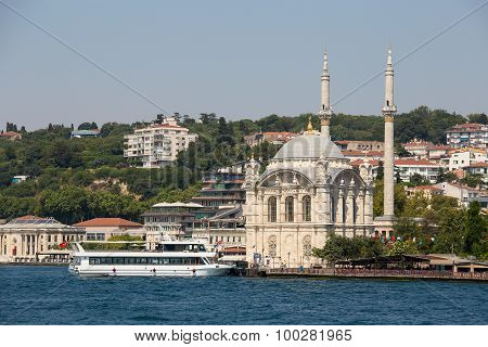 Ortakoy Mosque In Besiktas District , Istanbul, Turkey