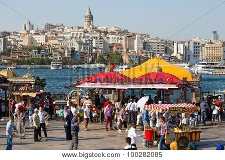 Eminonu Harbor, Beyoglu District Over The Golden Horn Bay In Istanbul, Turkey