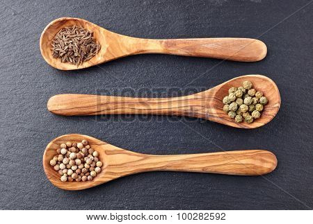 Spices on a graphite background