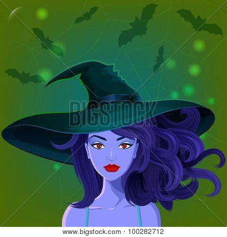Halloween beautiful witch in pointy hat