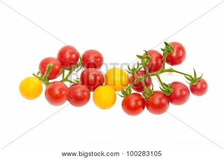 Two Branches Of Red Cherry Tomato And Several Yellow Tomatoes