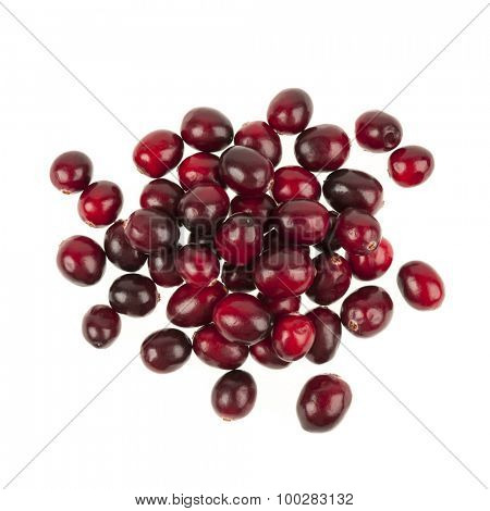 Heap of fresh red ripe cranberries isolated on white background