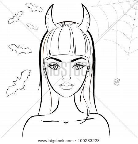 Halloween devil girl with horns. Outline vector