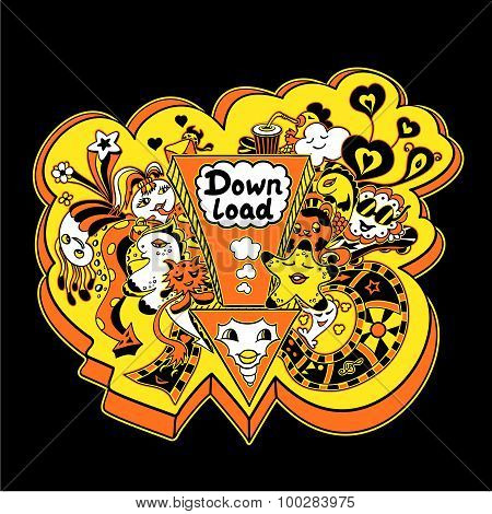 Concept down load with doodle monsters in yellow orange