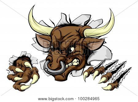 Bull Sports Mascot Breaking Wall