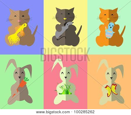 Pattern.kitty And Bunny With Toy