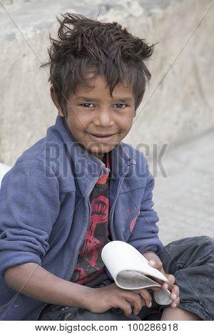 Beggar Boy In Leh, India