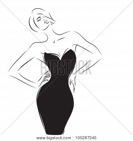 Woman Black Dress