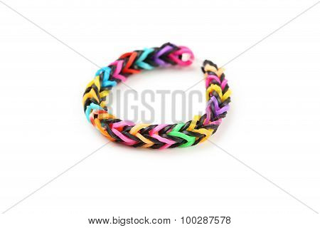 Colorful Rubber Band Bracelets Isolated On White