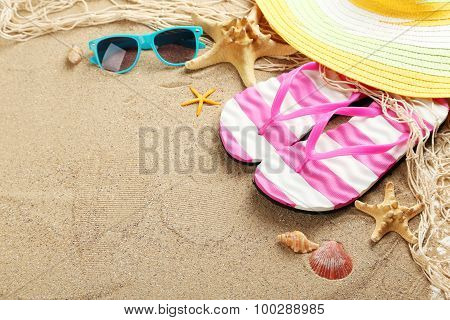 Beach Accessories On A Sand